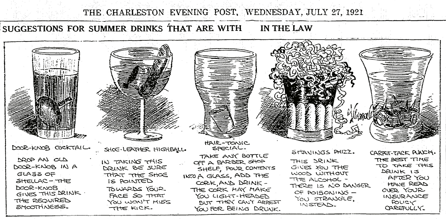 "More than a year into Prohibition, readers of The Charleston Evening Post no doubt appreciated cartoonist Rube Goldberg's ""mocktail"" commentary on legal drinks."