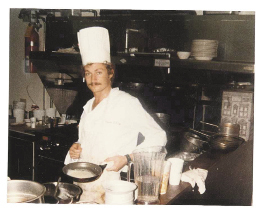 Lee in the kitchen of the Veranda restaurant at Wild Dunes in 1985