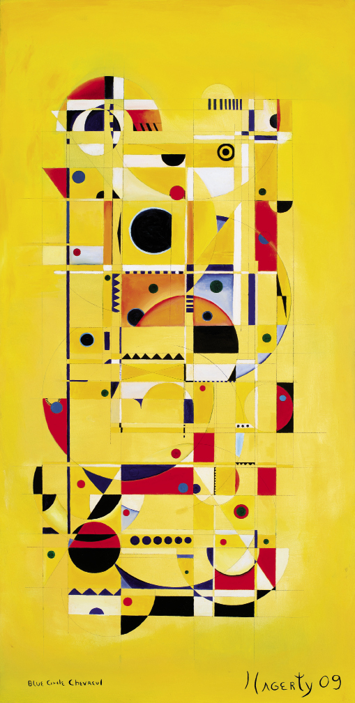 Blue Circle Chevreul (2009, oil on canvas, 48 x 24 inches)