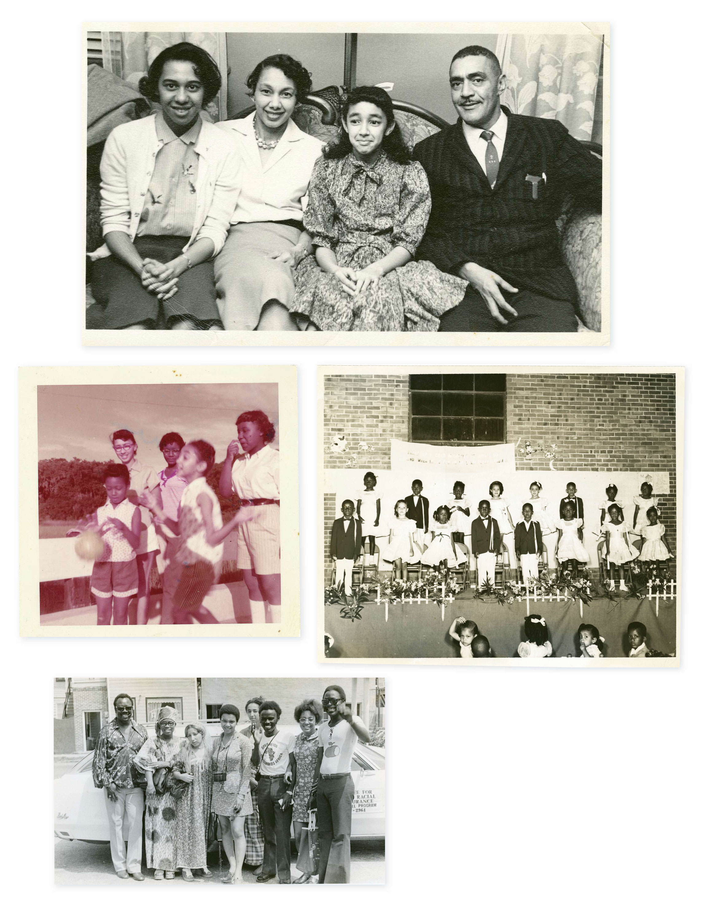"Family Ties: The Browns lived amid a vibrant black middle-class neighborhood on the peninsula. ""There were black doctors, lawyers, business owners, well-to-do people and poor, too, but it was an intact community,"" says Millicent. (Clockwise from top) With her parents, MaeDe and J. Arthur, and sister Minerva, the original plaintiff in the school suit; at an A. B. Rhett School program in 1954; working with Operation Crossroads Africa in the 1970s (the program was sponsored by the State Department to expose Africans to Lowcountry culture); with older sister Joenelle (far left, back) circa 1957 at a black-owned resort in the Catskill Mountains frequented by the Brown family"