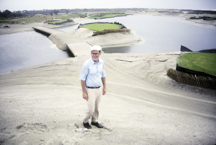 Pete Dye plotting a rough draft of the 17th, which his wife, Alice, insisted include challenging water elements.