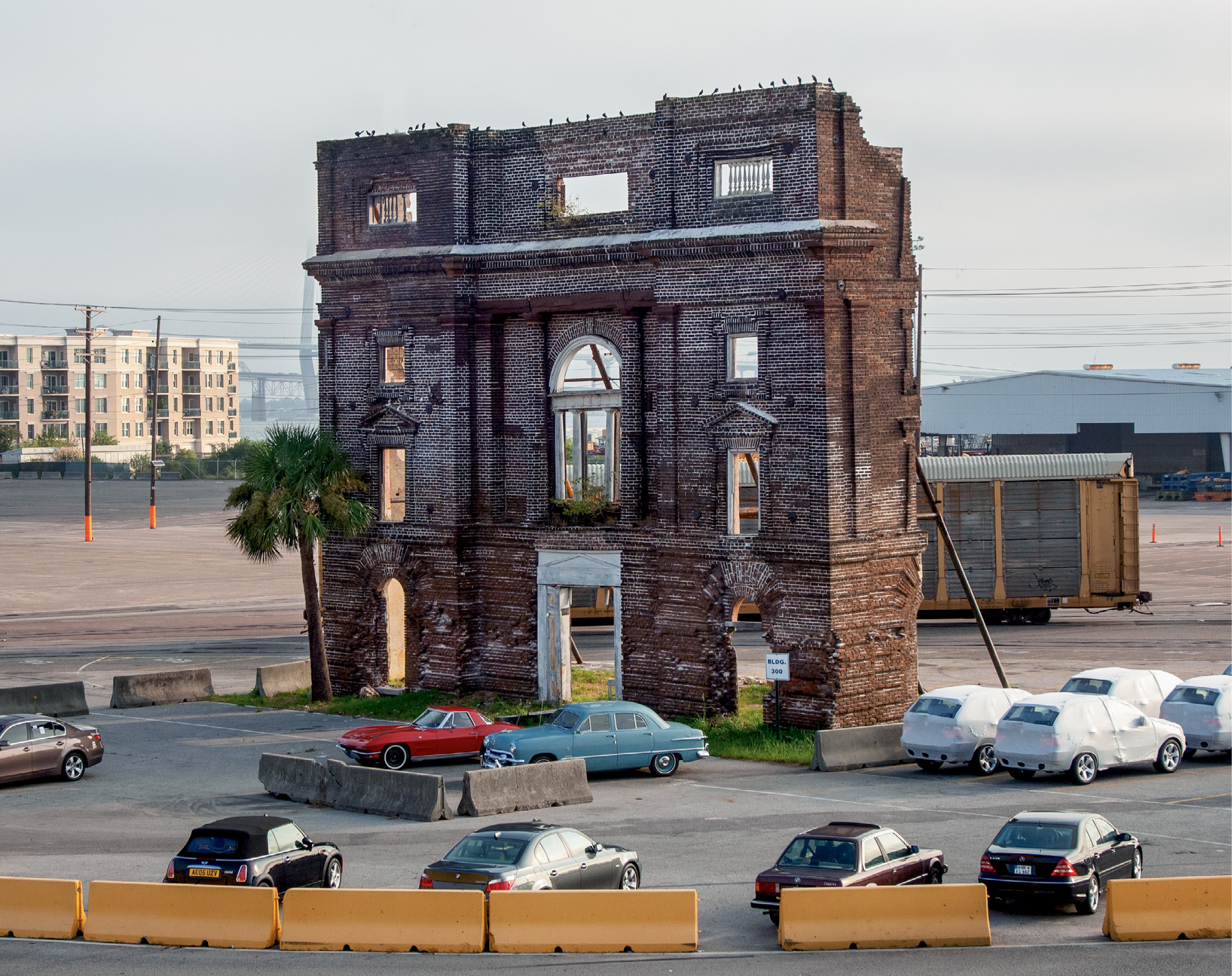 Standing sentinel in the parking area of the S.C. Ports Authority's Union Pier Terminal, the western façade of the Bennett Rice Mill is all that remains of one of the finest examples of 19th-century industrial architecture in America.