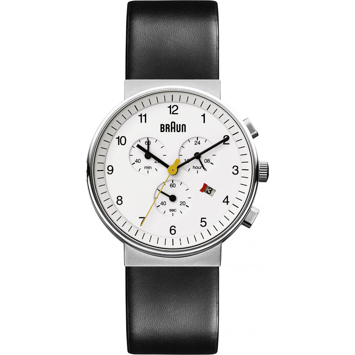 The restaurateur's Braun watch is a reproduction of a 1960s Dieter Rams design. $300, braun-clocks.com