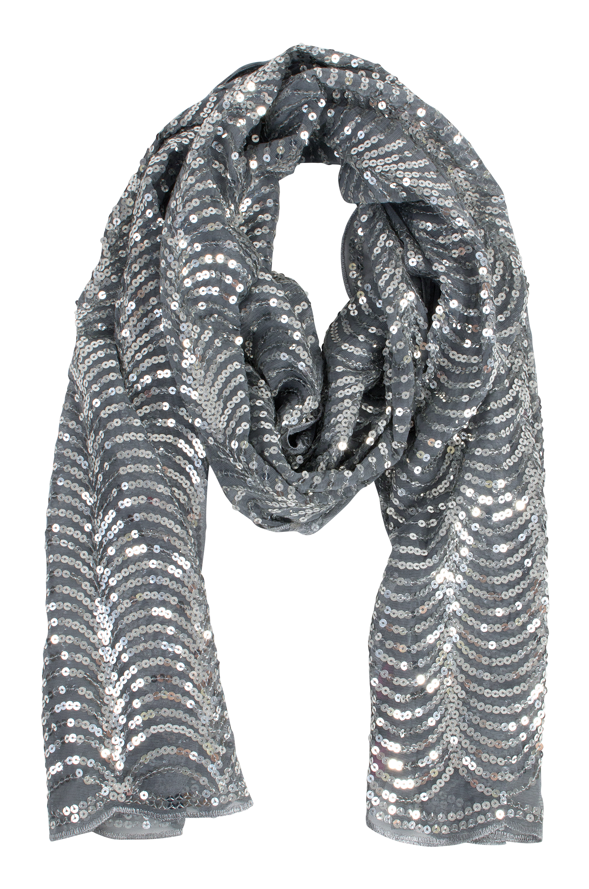 "Betsey Johnson ""Grey Story Scarf,"" $34 at Belk of Mount Pleasant"