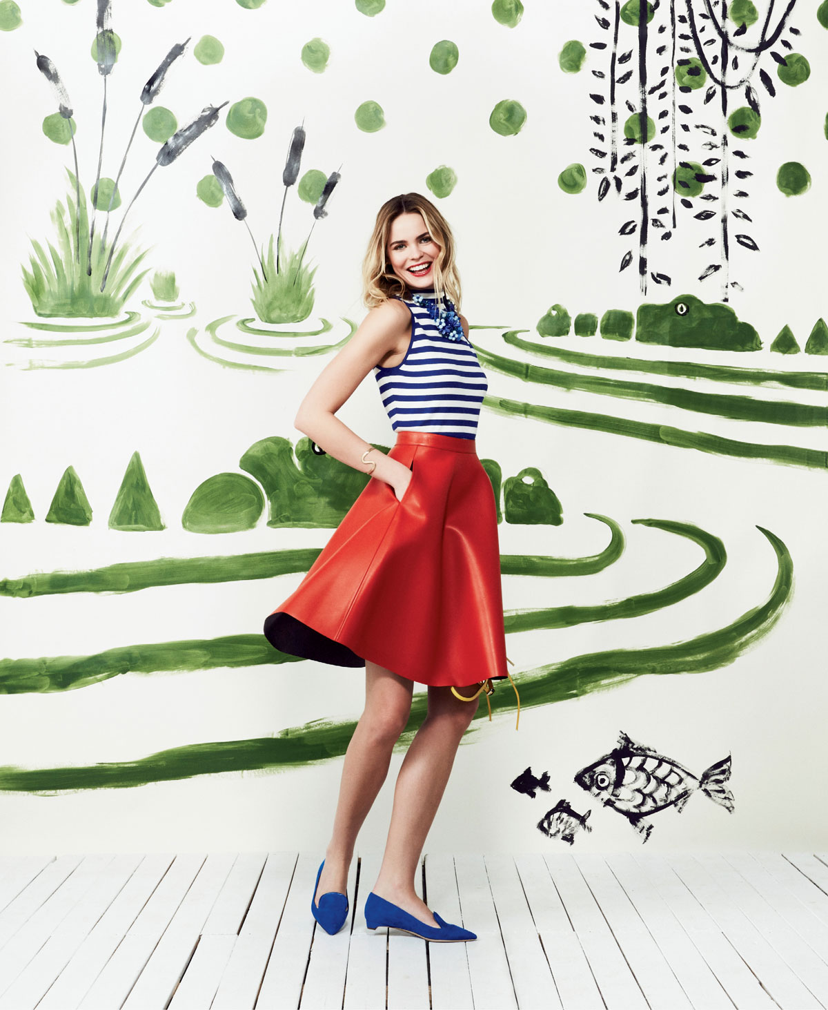 """Milly striped high-neck tank, $195 at Gwynn's of Mount Pleasant; MSGM eco leather A-line skirt, $400 at Hampden Clothing; Clotilde Silva blue beaded floral bib necklace, $128 at Hidden Countship; and Rupert Sanderson """"Jocose"""" suede flats, $575 at Hampden Clothing"""