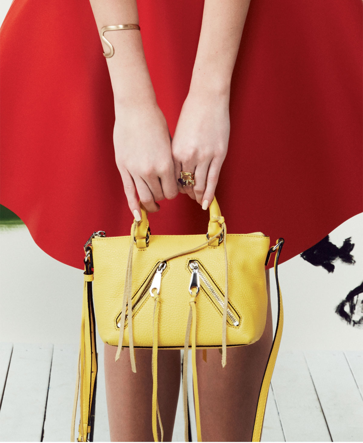 """Rebecca Minkoff """"Micro Moto Satchel"""" in """"sunshine,"""" $195 at Shoes on King; Golden Stella brushed gold bracelet, $132 at Beckett Boutique; and 14K gold and vermeil lemon quartz cluster cocktail ring, $265 at Croghan's Jewel Box."""
