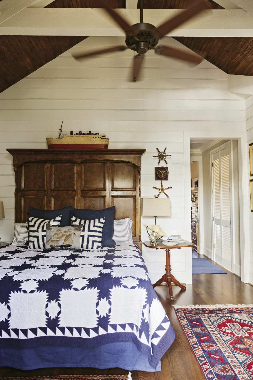 A blue-and-white color palette continues the maritime theme.
