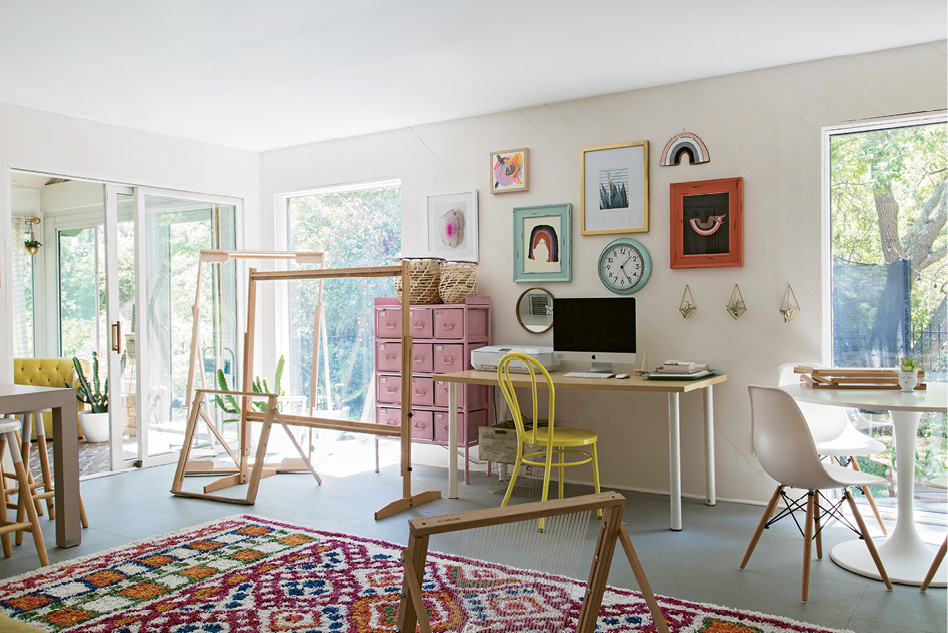 "A LOOM OF ONE'S OWN: ""I wanted the studio to feel like a separate space, so it's bright with lots of pinks and more color than the rest of the house,"" Erin notes."
