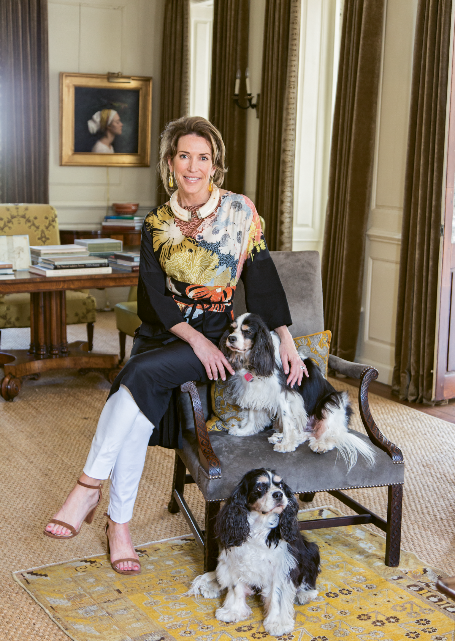 Ann with pups Winston and Buckley in the second-floor drawing room