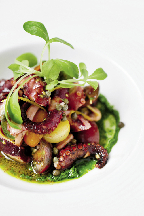 An octopus and heirloom tomato salad