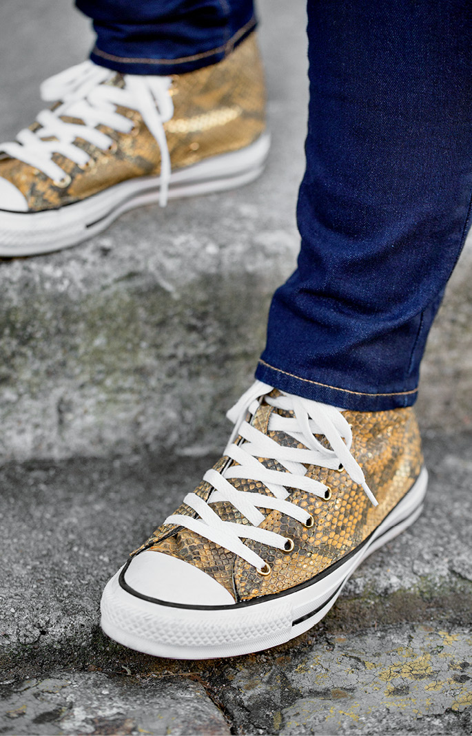 Snaked-out Chuck Taylors.