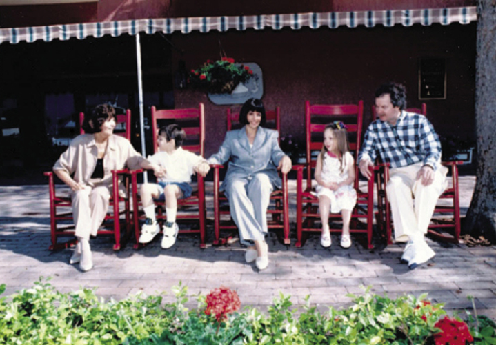 Taking daughter Leigh and son Ben to business conferences was de rigueur for Millard. Here, the whole family, including Millard's mother and husband, Jay, enjoyed the annual Family Circle Cup tournament in 1993, back when it was on Hilton Head.Photograph courtesy of Wenda Harris Millard