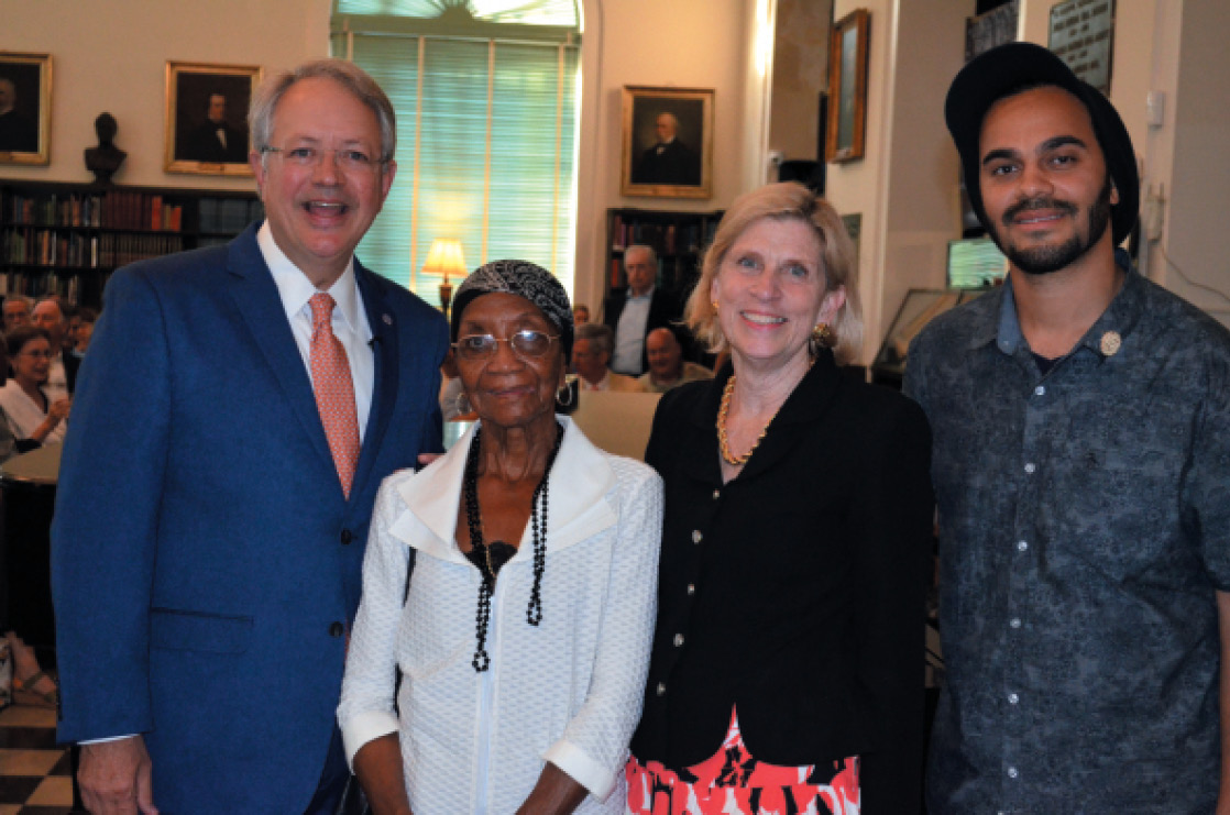 With Mayor Tecklenburg, Anne Cleveland, and musician Tuffus Zimbabwe (great-grandson of the Reverend Daniel Jenkins and keyboardist for the Saturday Night Live band) at the Jazz for Jenkins concert (2018)