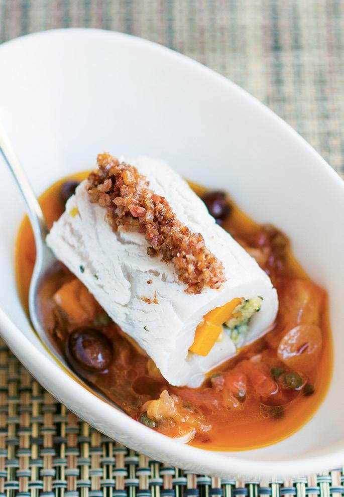 To Serve the Swordfish Braciole: Spoon some tomato mixture into a dish, add the braciole, and garnish with pancetta.