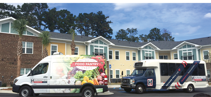 One of the foundation's food delivery vans and courtesy shuttles