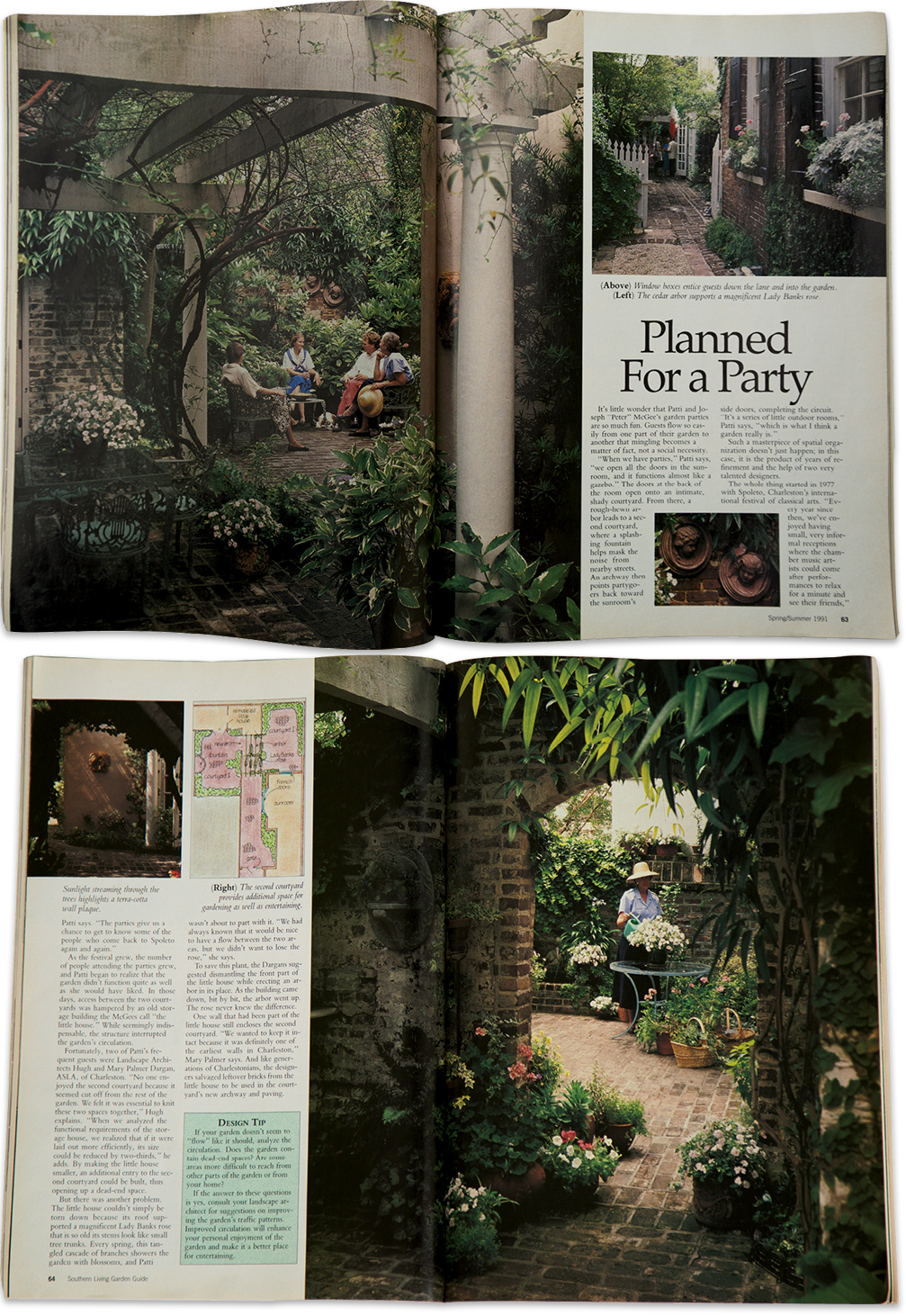 IN THE SPOTLIGHT: The McGees' courtyard garden on Church Street as featured in Southern Living's Spring/Summer 1991 Garden Guide