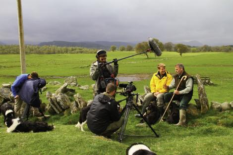 On location in Scotland's Shetland Islands with crew and host Richard Wiese