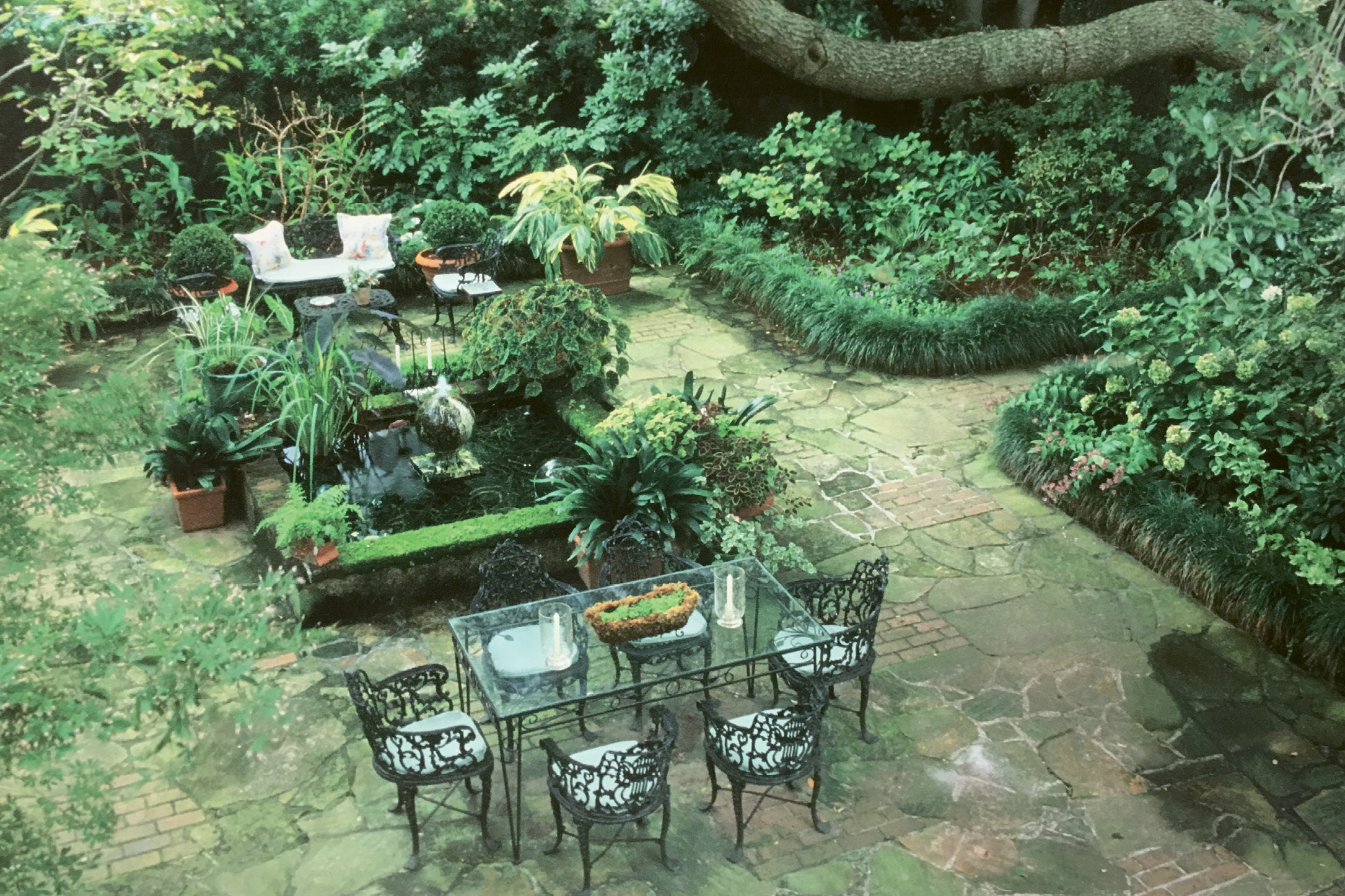 "ROOMS TO GO: Patti's Ansonborough garden, as photographed by Virginia Weiler for the September/October 2003 issue of Horticulture, featured three garden ""rooms,"" two ponds, and bordered beds planted for interest every month of the year."