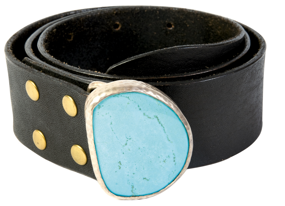 Heather Be leather belt with a turquoise stone buckle, $356 at Gwynn's of Mount Pleasant