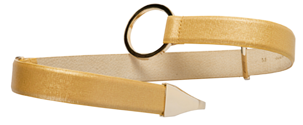 WCM italian leather in gold with a gold hook closure, $78 at Copper Penny