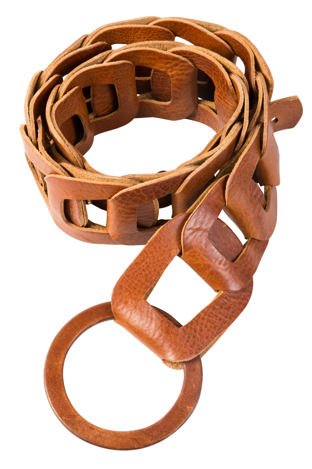 Brave leather link belt in cognac, $110 at Lori + Lulu