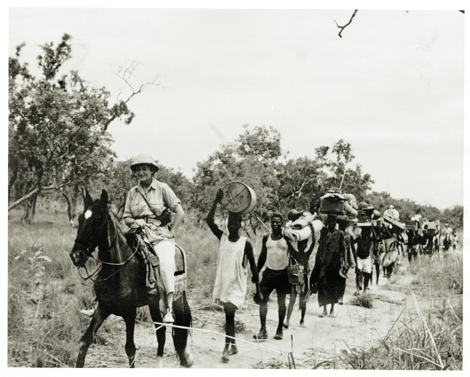 Gertie leading a trek to the kingdom of Rei Boube during her 1952 National Geographic expedition to Africa