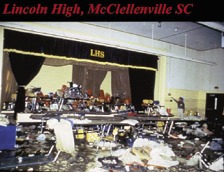 Before the storm,  McClellanville residents who were unable to evacuate and seeking a safe refuge were directed to the shelter at Lincoln High School (pictured post Hugo).