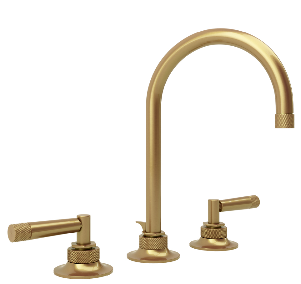 """Graceline"" faucet in French brass by Michael Berman for ROHL, $874 at Moluf's"