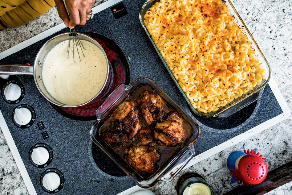 While the Wilsondebrianos are famous for their outdoor cookouts, they head inside for weeknights, making simple honey-glazed chicken and three-cheese mac-n-cheese.