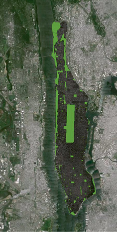 Manhattan: These aerial maps, with parks highlighted in green, demonstrate the difference in dedicated public park space between Manhattan and Charleston. The bustling metropolis has 3.9 square miles of park space or 13 percent of the total area, while Charleston, south of I-526, has less than a half square mile or two percent.