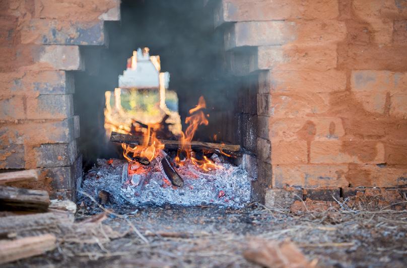 Fire bakes the bricks for three days.