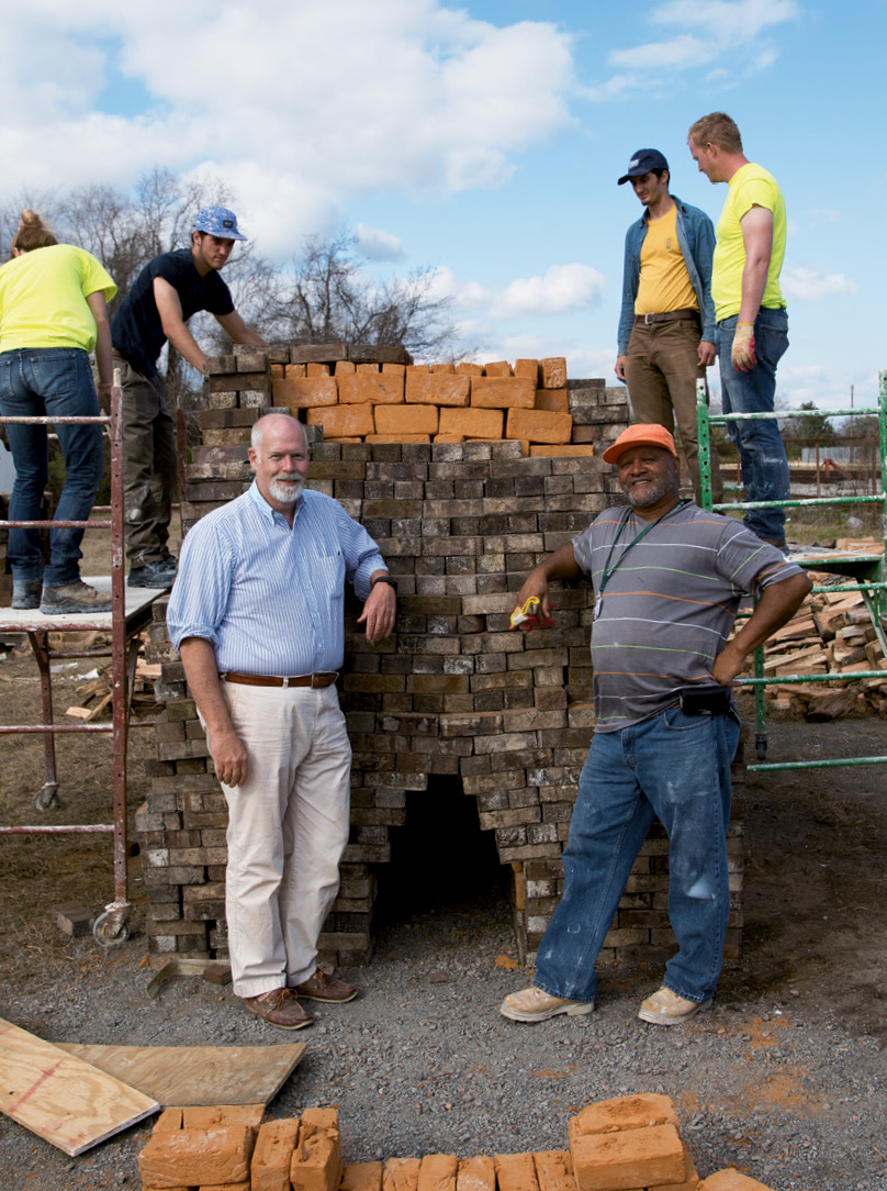 Cary Briggs (left) with masonry professor Alton Staley