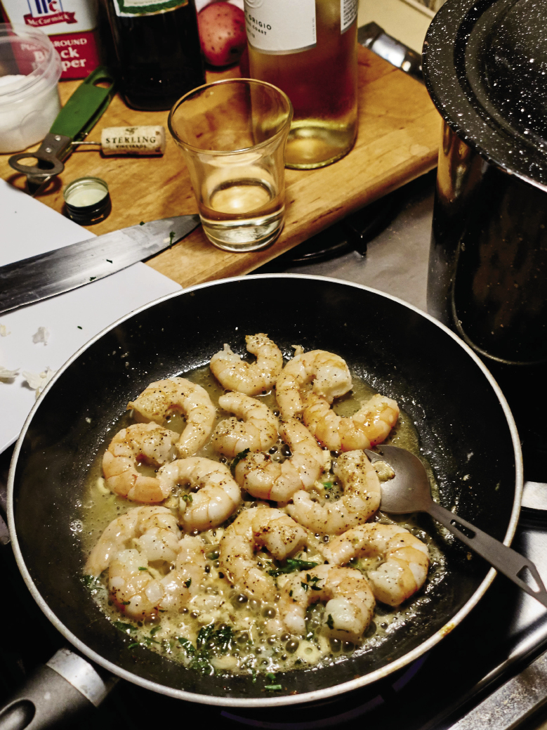 Hunting Island State Park: Campsite cooking with shrimp from Gay Fish Co