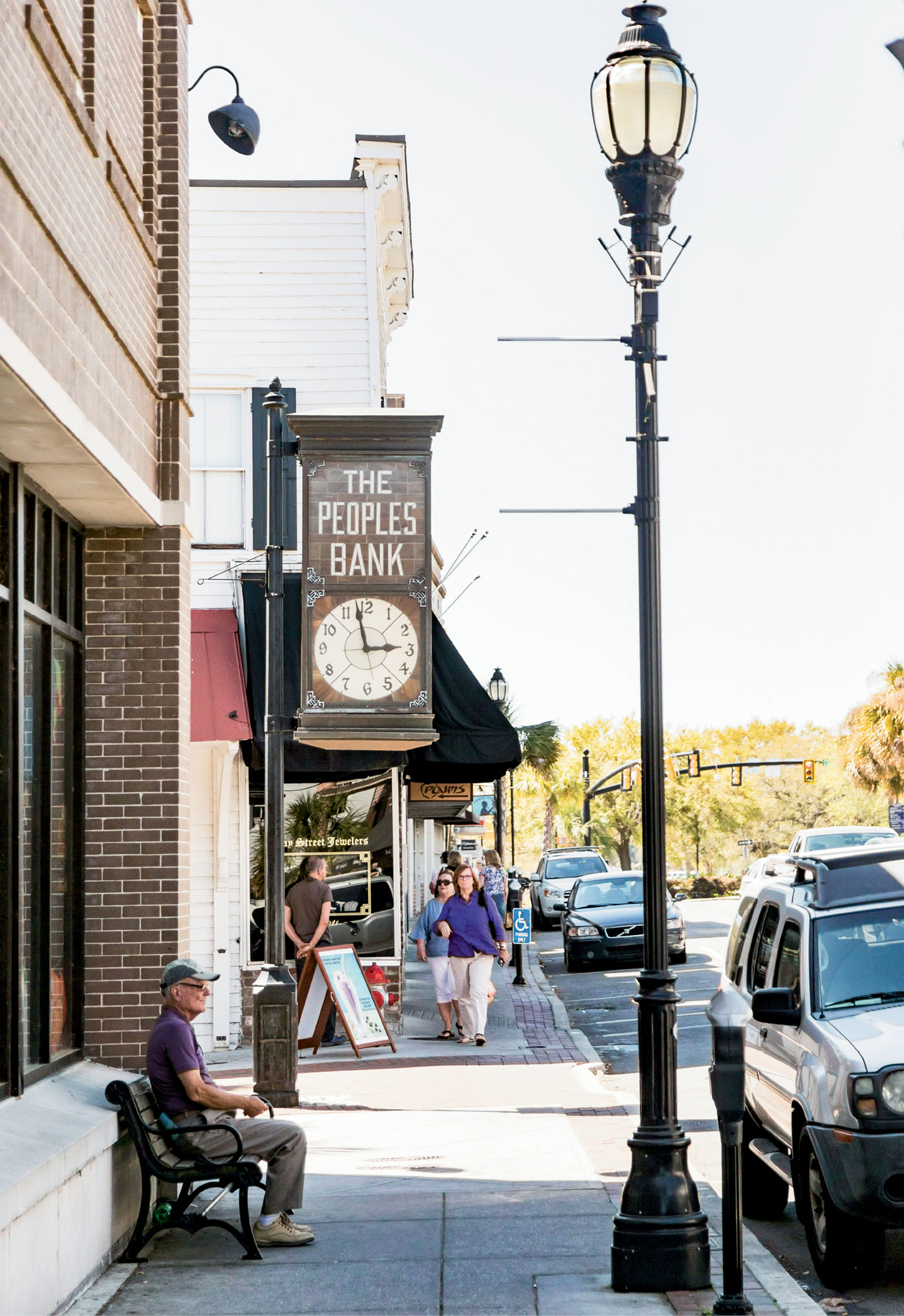 A view of Beaufort's riverfront downtown and Bay Street lined with retail shops and restaurants