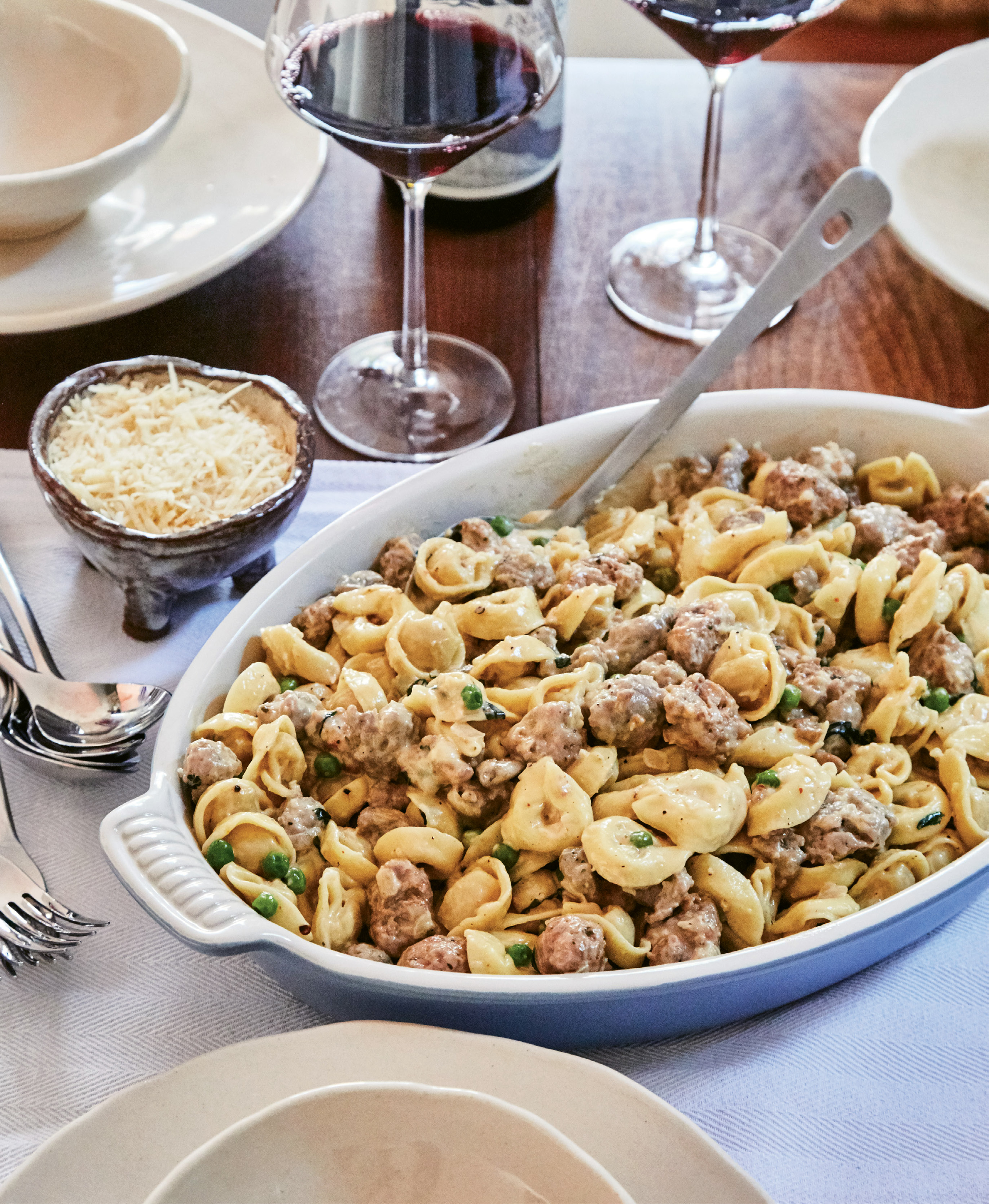 This robust sausage-and-tortellini recipe, passed down from Gillian's grandmother and mother, is a favorite of her Italian relatives, who take comfort in the dish when the weather turns cold and gray.