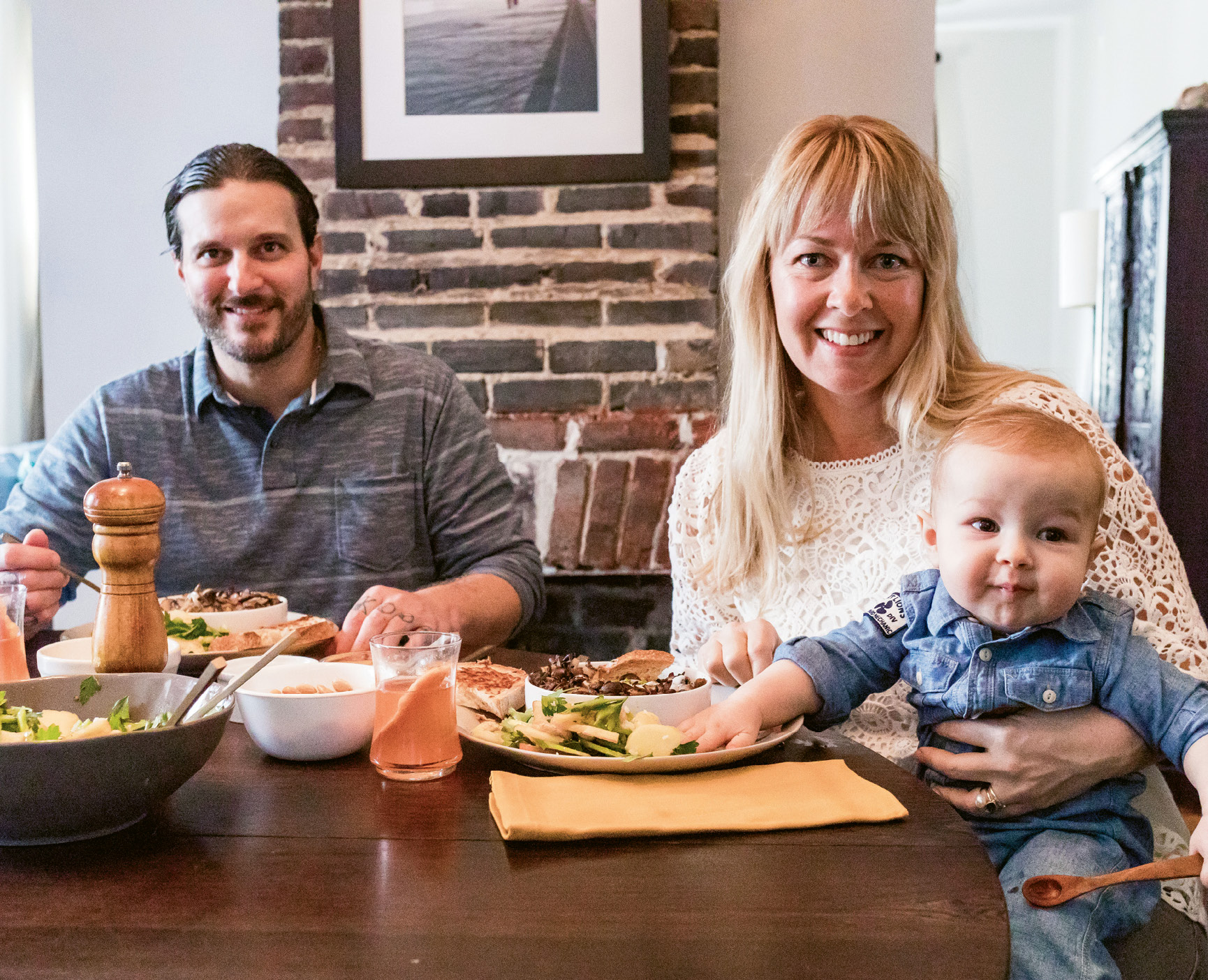 Karalee Nielsen Fallert brunches with her husband, Chris, and son, Harley.