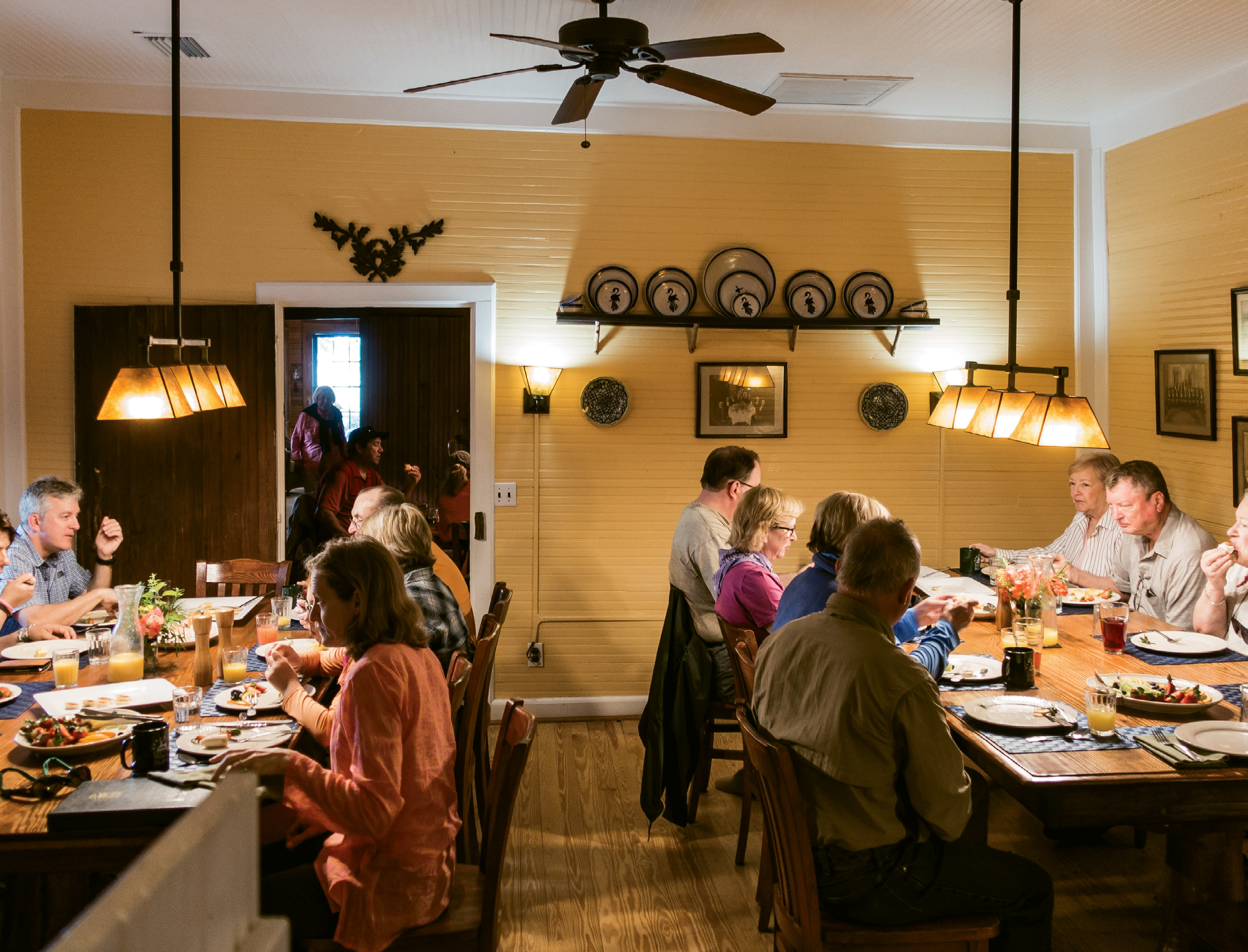 Family-style dining at the lodge.