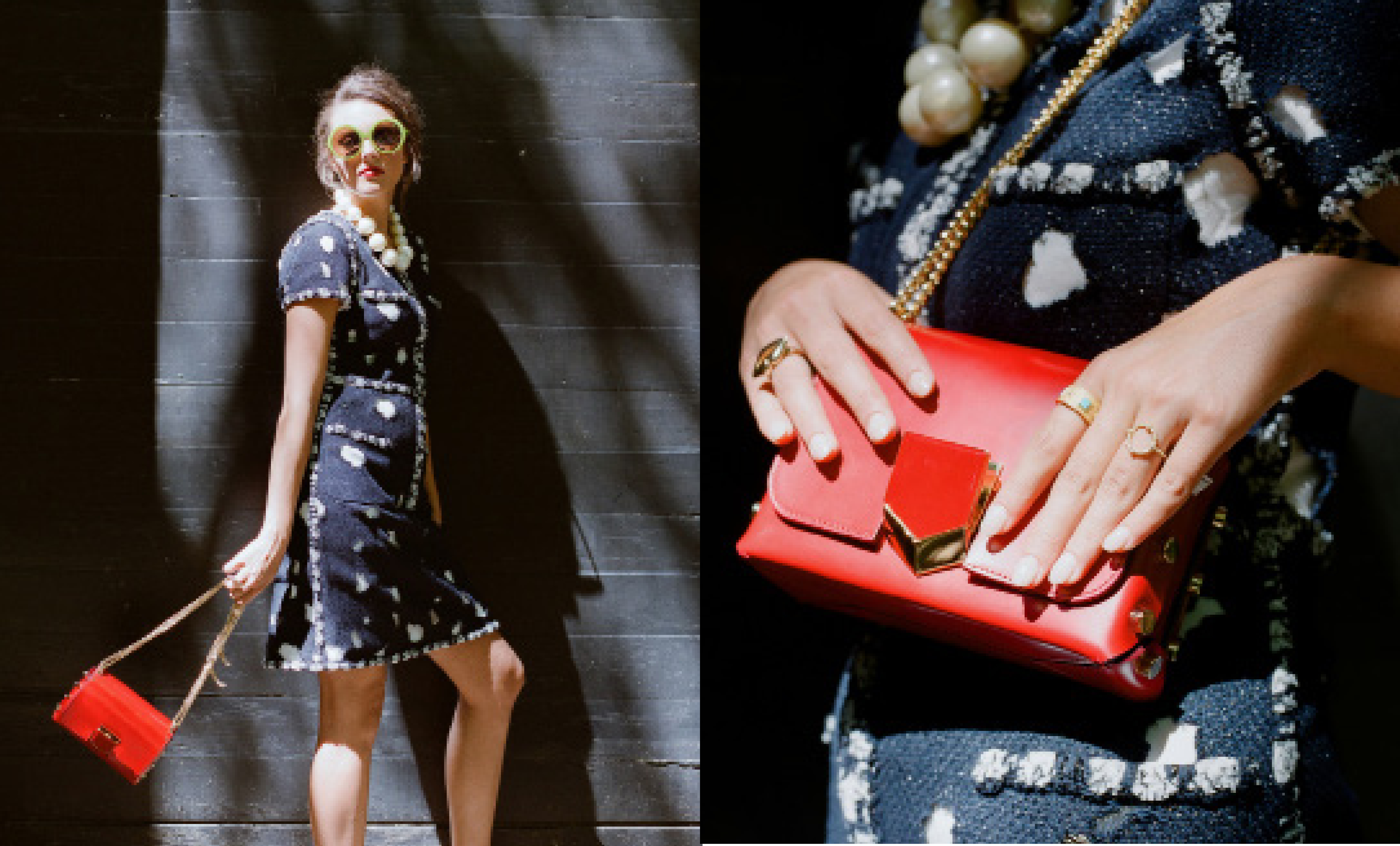 """Spot On: Chanel """"Graffiti"""" dress, $3,500, at The Trunk Show; Vintage faux pearl necklace, price upon request at Candy Shop Vintage; and Iris Apfel acetate sunglasses in """"lime,"""" $465 at Friedrich's Optik. (Opposite) Jimmy Choo """"Lockett Petite"""" spazzolato (brushed) leather shoulder bag, $1,450 at Gwynn's of Mount Pleasant; Frieda Rothman dainty circular ring, $65, and turquoise band, $175, both at Croghan's Jewel Box; and Odette NYC """"gold mouth ring,"""" $140 at Port Mercantile"""