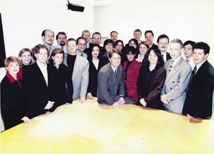Pictured here with the original DoubleClick team in 1997, Millard was one of the Internet ad pioneer's first hires and helped grow the staff to more than 600.