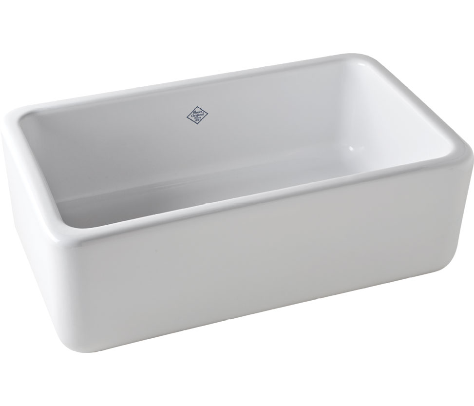 Porcelain farm sink, $1,755, at Design on Tap