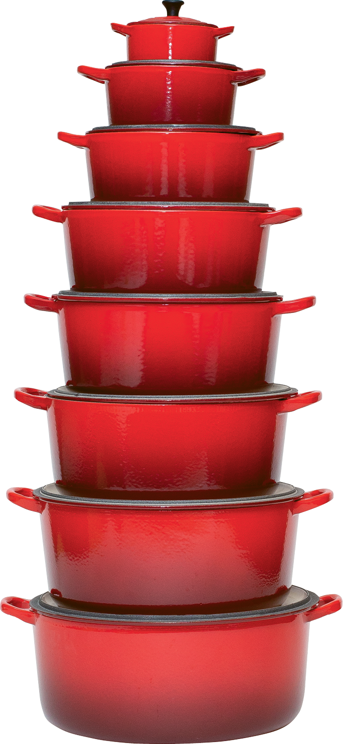 """Cherry""-hued cookware in many sizes"