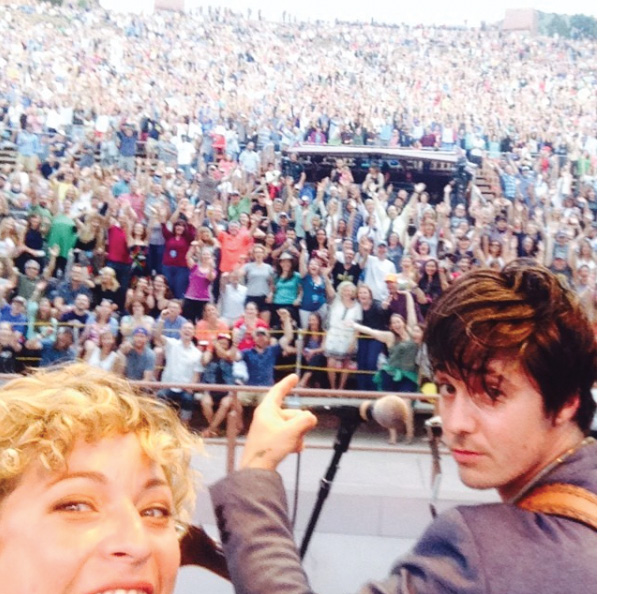 A stage selfie with the crowd at the legendary Red Rocks Amphitheatre in 2014