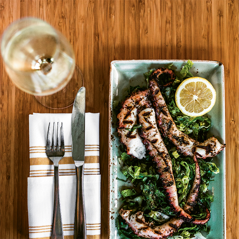 Splendors of the Sea - Tenderly cooked and charred on the grill, octopus makes a stunning showing at Stella's.