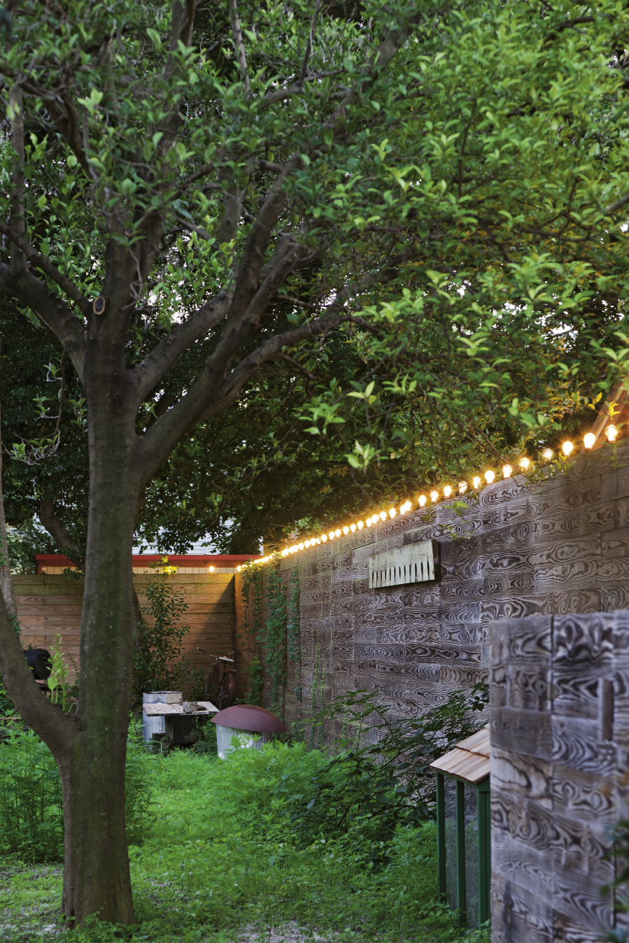 Rice and Nissenboim added a fence in the backyard for privacy; bulbs around its perimeter light up the space after dusk.