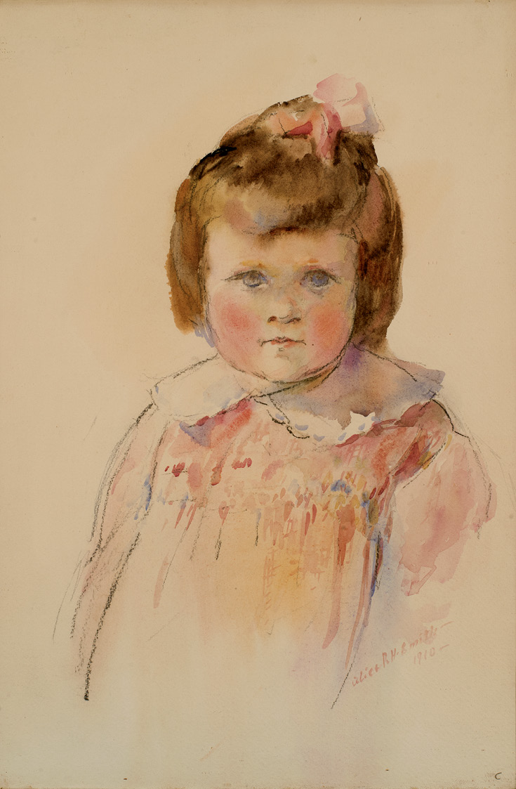 Portrait of Caroline Smith, sister (watercolor, circa 1910, courtesy of Anne Gaud Tinker)