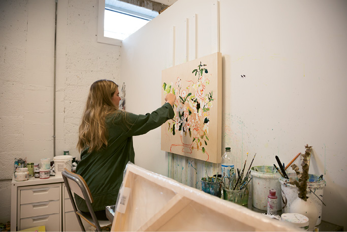 Painter Kate Waddell in her Redux studio