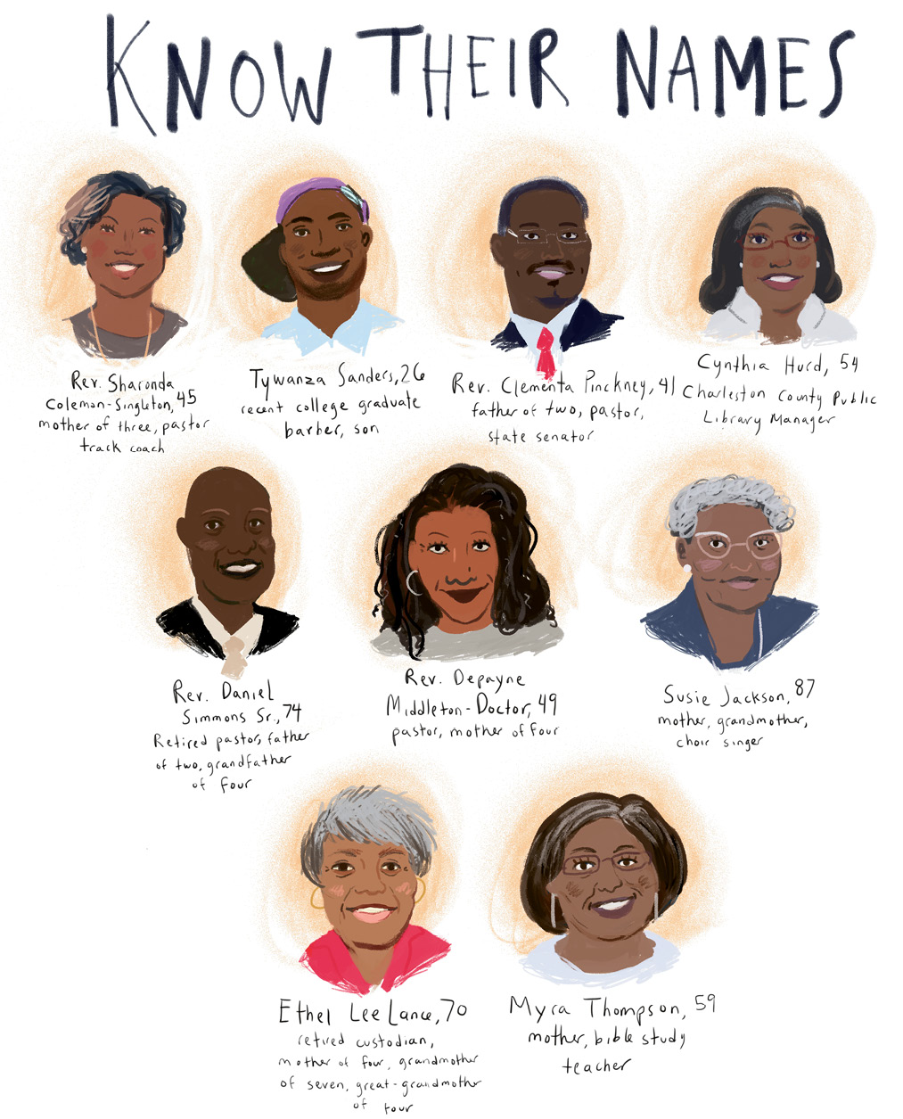 More Than Victims: They were mothers, fathers, sisters, brothers, cousins, teachers, preachers, poets. A beloved librarian, a persnickety church custodian, an inspiring coach. As artist Sarah Green illustrates, the nine are not a number, but individuals once full of life and love.