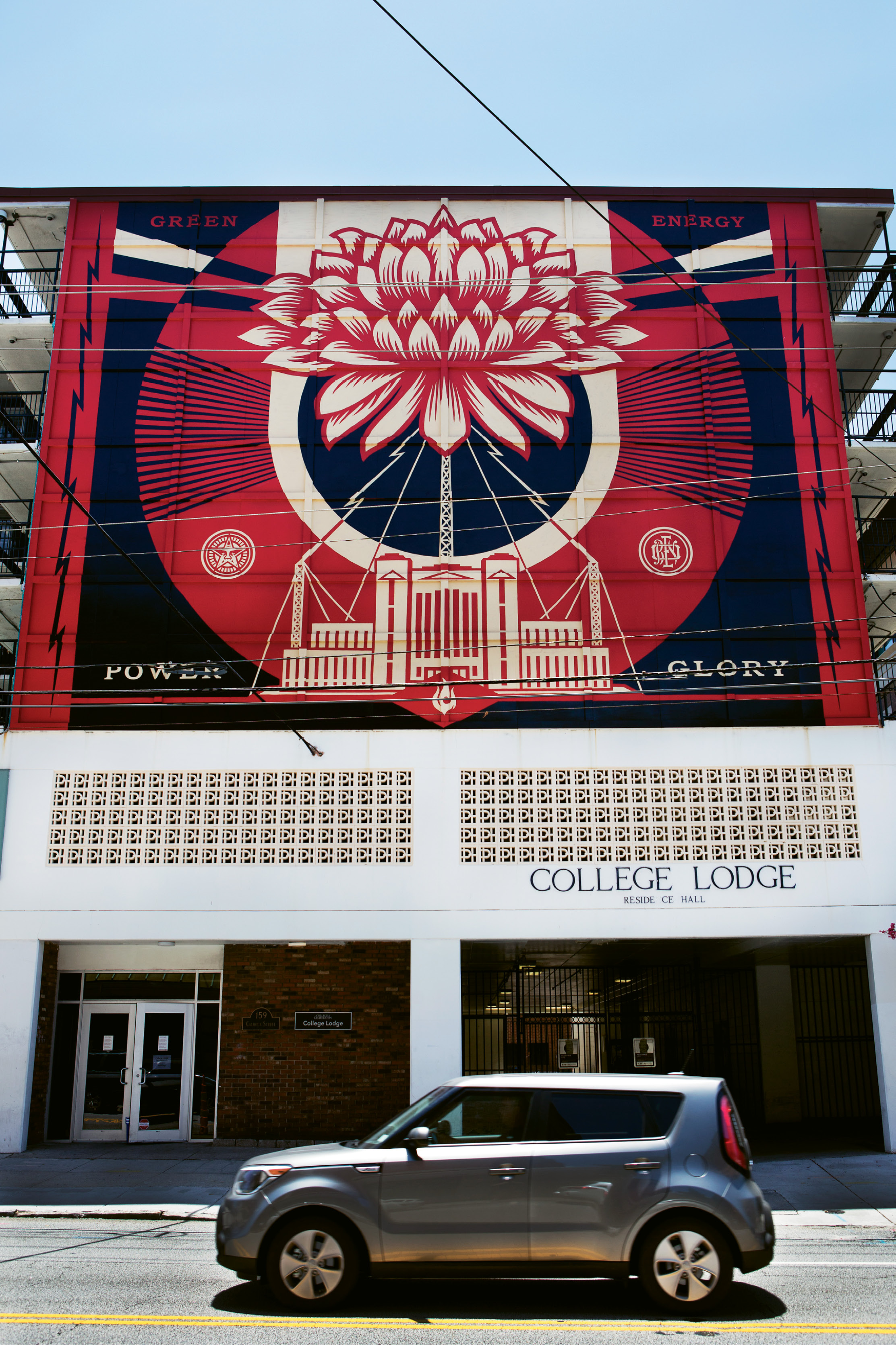 Power & Glory  by Shepard Fairey  May 2014 - College Lodge (159 Calhoun St.)