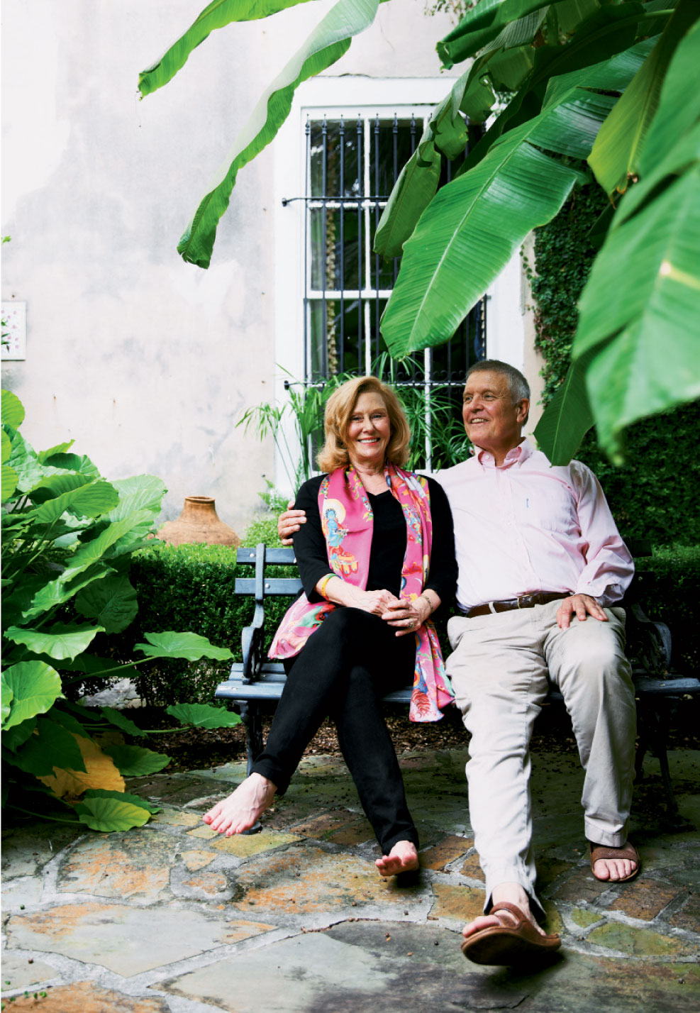 The artist with wife and poet Barbara in the courtyard of their downtown home