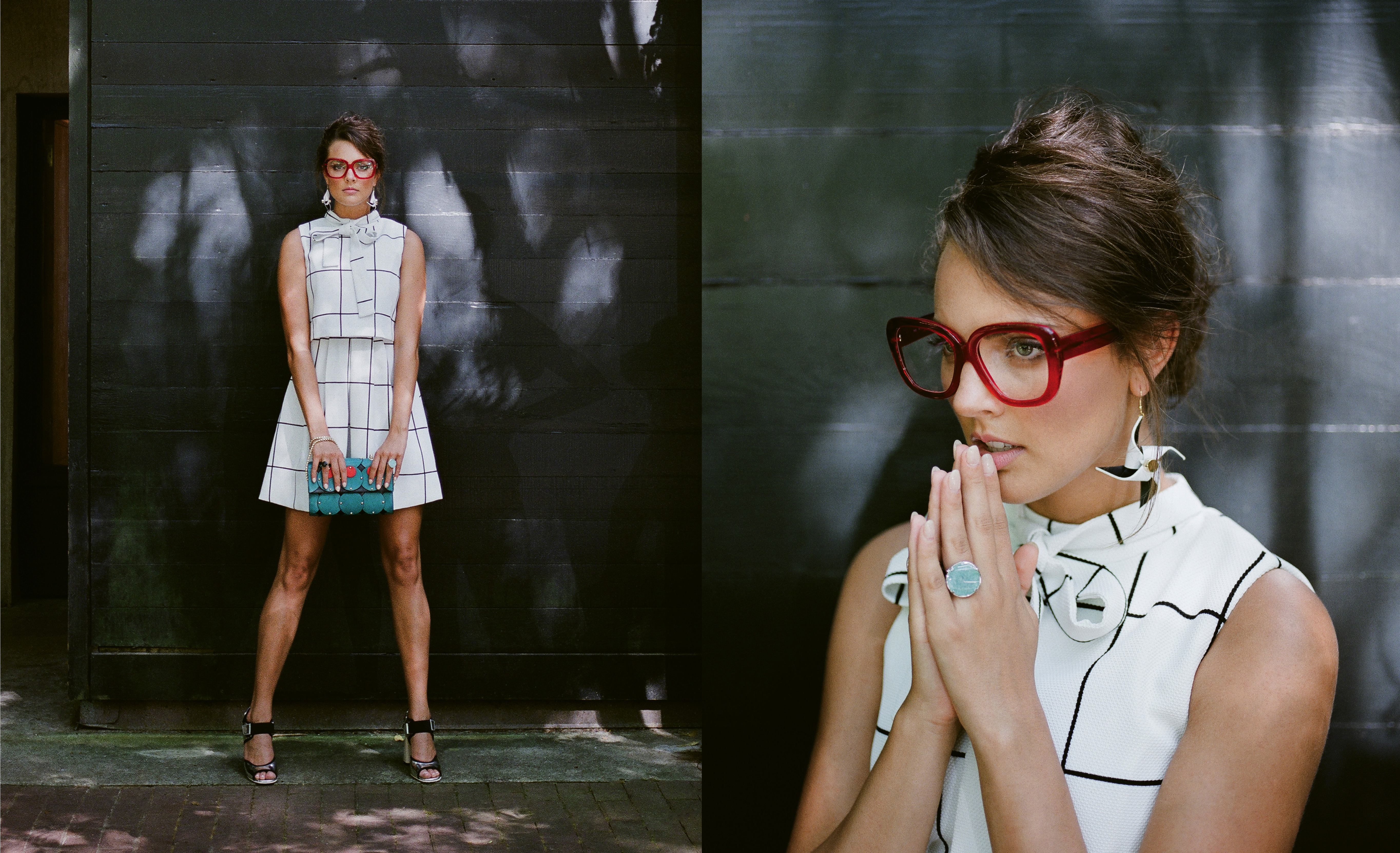 """Square Space: Gracia belted windowpane print dress, $68 at Très Carmen; Ellia Wang turquoise pillow clutch, $594 at Maris Dehart; sterling-silver ring with black onyx, $60 at Gold Creations; and Marni silver block heel, $970 at Hampden Clothing. (Opposite) """"Caroline"""" glasses in """"cherry red,"""" $465 at Friedrich's Optik; Ellia Wang Geometry Collection pinwheel earrings, $78 at Maris Dehart; and 14K white-gold ring with amazonite crystal and diamonds, $1,575 at Gold Creations"""